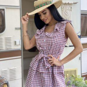 Приобрести беж женское хлопковое платье в клетку с рюшами и поясом дешево