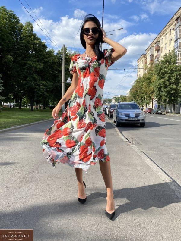 Заказать белое/красное женское нежное платье миди с принтом с рукавами-фонариками по скидке