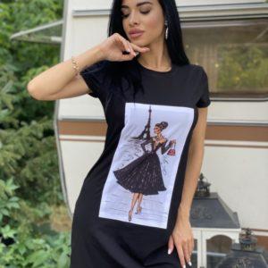 Приобрести женское черное трикотажное платье с принтом по низким ценам