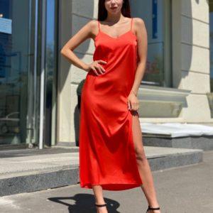 Закахать алое женское платье комбинация из шелка armani с разрезом по низким ценам
