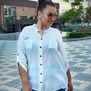Купить белую женскую рубашку из вискона с декором из пайеток на спине (размер 46-56) онлайн