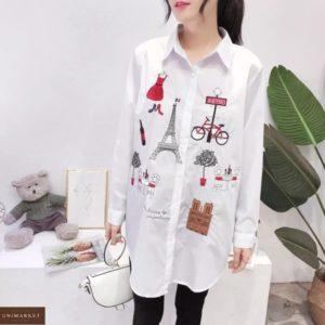 Замовити жіночу білу подовжену сорочку з малюнками вигідно