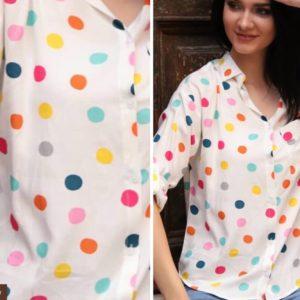 Купить рубашку в разноцветный горошек из штапеля с принтом сердечки, горошек (размер 42-48) для женщин белого цвета недорого