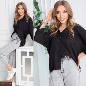 Купити чорну сорочку для жінок з льону та бавовни oversize (розмір 42-54) дешево