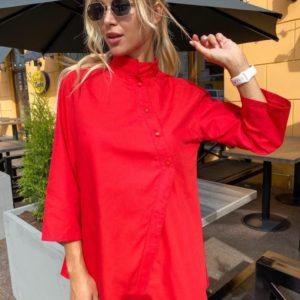 Заказать женскую хлопковую рубашку свободного кроя красного цвета в Украине