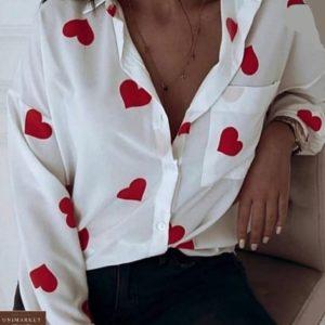 Замовити білу бавовняну сорочку з серцями за низькими цінами для жінок