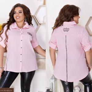 Приобрести розовую женскую стильную рубашку с оригинальным воротником и змейкой (размер 48-66) недорого