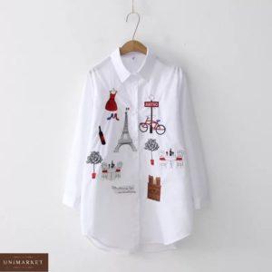 Приобрести женскую белую удлиненную рубашку с рисунками по скидке