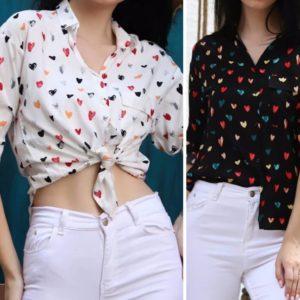 Заказать белую, черную рубашку для женщин из штапеля с принтом сердечки, горошек (размер 42-48) в разноцветные сердечки в Украине