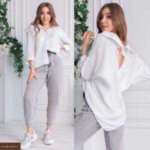Заказать онлайн женскую рубашку из льна и хлопка oversize (размер 42-54) белого цвета