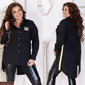 Приобрести черную женскую удлиненную рубашку на пуговицах с лампасами (размер 48-66) выгодно