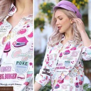 Заказать женскую летнюю белую принтованную рубашку из штапеля (размер 42-48) выгодно