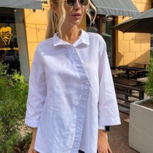 Придбати жіночу бавовняну сорочку вільного крою білого кольору в Україні