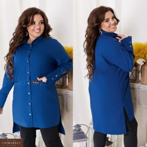 Заказать синюю женскую удлиненную рубашку с опущенной линией плеча (размер 48-62) дешево