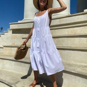Купить белый сарафан для женщин с пуговицами и воланами на бретельках выгодно