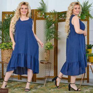 Приобрести синий женский свободный сарафан миди с оборкой из натурального льна (размер 48-64) по скидке
