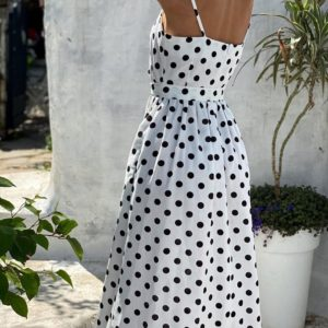 Купить белый летний женский сарафан миди в горошек по скидке