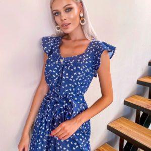 Приобрести синий джинсовый сарафан с принтом бабочки с поясом для женщин дешево