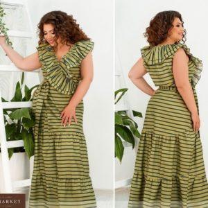 Приобрести зеленое женский лёгкий длинный сарафан в морском стиле с рюшами (размер 48-62) по скидке