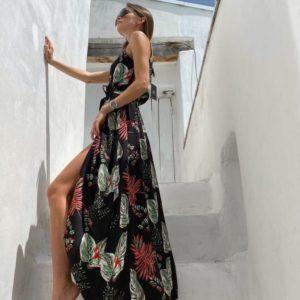 Приобрести черный женский летний сарафан на запах из штапеля с принтом листья недорого