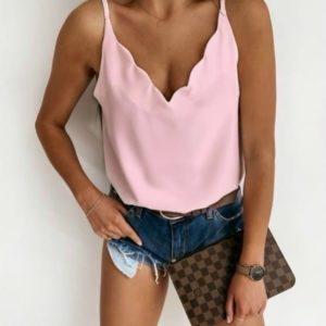 Купить розовый топ на бретельках для женщин с V-образным вырезом по скидке