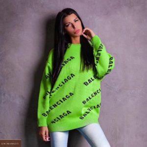 Купить зеленую женскую тунику-свитер с лого Balenciaga по скидке