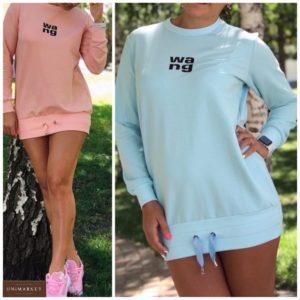 Заказать тунику женскую с надписью в спортивном стиле (размер 42-52) пудра, голубой цвета дешево