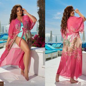 Купить розовую женскую шифоновую принтованную пляжную тунику (размер 42-62) выгодно