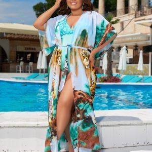 Купить голубую тунику для женщин на пляж с принтом тигры (размер 42-62) дешево