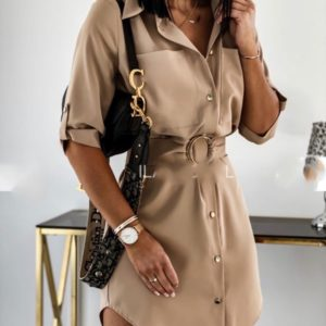 Заказать женское платье-рубашка-туника бежевого цвета с карманами и поясом (размер 42-48) онлайн
