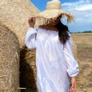 Заказать белую пляжную тунику с открытыми плечами (размер 42-48) в Украине женскую на лето
