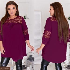 Замовити бордо жіночу подовжену туніку вільного А-образного силуету (розмір 48-64) по знижці