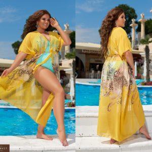 Заказать женскую принтованную пляжную тунику из шифона (размер 42-62) желтого цвета онлайн