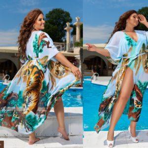 Приобрести голубого цвета женскую пляжную тунику с принтом тигры размеров 42-62 онлайн недорого