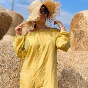 Приобрести горчичного цвета тунику на пляж с открытыми плечами размера 42-48 недорого для женщин