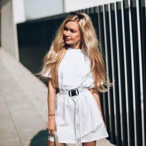 Купить женскую с поясом футболку-тунику по низким ценам женскую (размер 42-50)