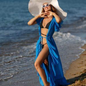 Купить женскую тунику из шифона голубого цвета на пляж с рюшами в Украине