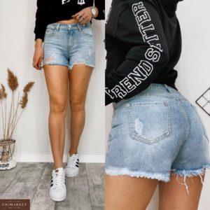Замовити блакитні світлі джинсові шорти для жінок з необробленим краєм і потертостями за низькими цінами