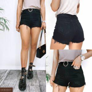 Купити чорні джинсові жіночі шорти з поясом і потертостями онлайн