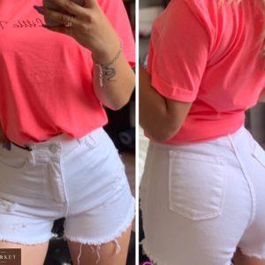 Замовити жіночі білі шорти з потертостями з необробленим краєм дешево