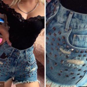 Придбати жіночі джинсові шорти сині з квадратними заклепками зі знижкою