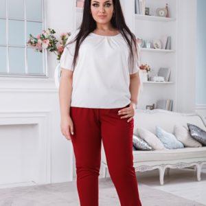 Заказать бордо женские укороченные брюки на резинке с карманами (размер 50-56) онлайн