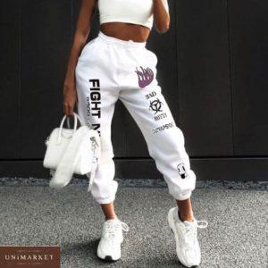 Купить женские стильные белые штаны из двухнитки с принтом онлайн