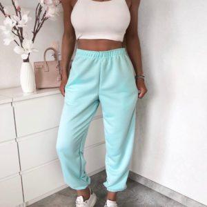 Купить мятные женские трикотажные штаны на резинке из двухнити размера 42-50 батал дешево