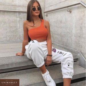 Заказать женские стильные белые штаны из двухнитки с принтом дешево