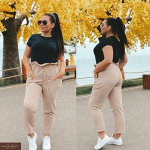 Приобрести беж женские укороченные штаны с акцентом на талии (размер 42-56) по скидке