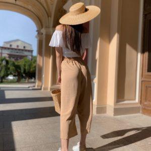 Приобрести бежевого цвета на резинке широкие штаны для женщин из американского крепа размера 42-46 онлайн