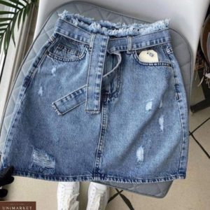 Купить женскую голубую джинсовую юбку с потертостями с поясом дешево