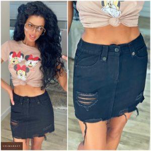 Заказать черную джинсовую юбку для женщин с дырками и потертостями онлайн