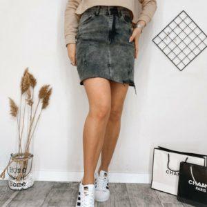 Заказать женскую дымчатую джинсовую серого цвета юбку с потертостями дешево